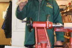The parallel clamp required some specialised tools, one of which is the tool he is showing, it's a threading tool.