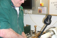 Here we have Dave Line as he makes his first cuts on his goblet blank.