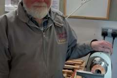 Here we have Douglas Stewart as he makes a start on his scarf clip project.