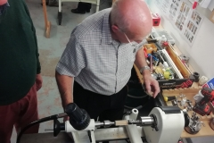 Here we have Bob Chisholm as he starts his pen making, Bob was using recycled oak.