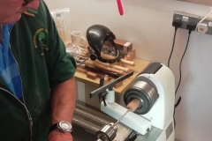 Here we have Dave line, as he starts his pen making, drilling the 7mm hole for the brass tube.