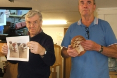 Here Dave and myself are showing the members the finished item and the pictures of how he did it.