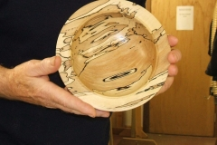The smaller of the 2 spalted beech bowls that Geoff made, Geoff told the members he needed a lot of sealer on the soft areas.