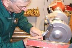 Here I'm re-grinding the bevels on a skew, both sides had been hollow ground.