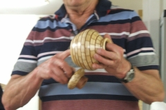 Here we have Dave Line, Dave made a couple of items, here he is showing his segmented vase with lid.