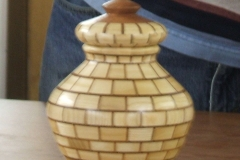 A closer view of David's vase with lid.