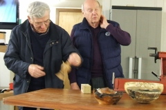 Here we have Bill Munro, Bill showed a couple of items that were all made by using the inside out turning method.